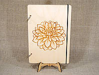 Скетчбук A5 Цветок. Блокнот с деревянной обложкой с цветком