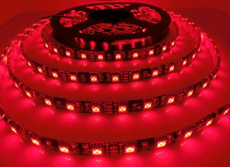 Светодиодная лента LED влагозащищённая, на черной основе, 12V, SMD5050, IP65, 60 д/м, красный