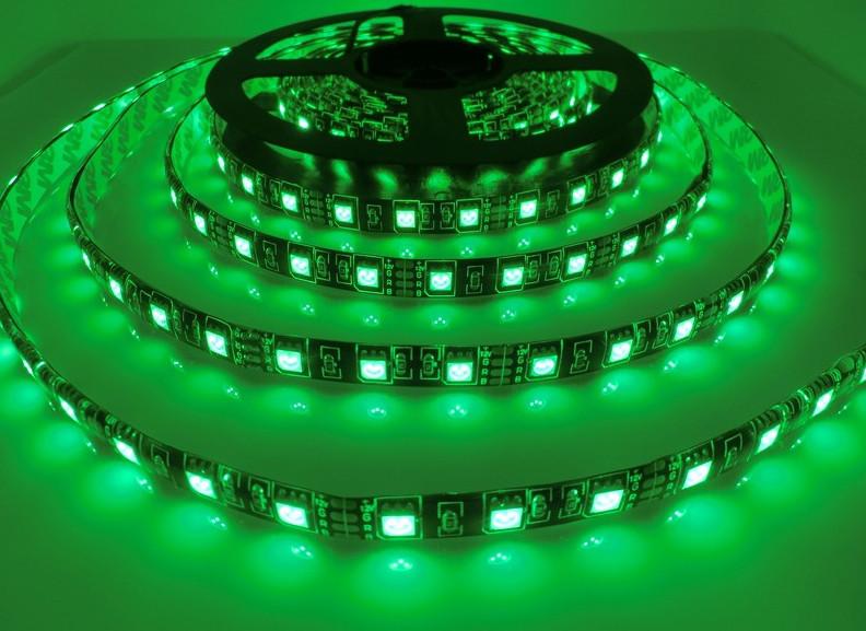 Светодиодная лента LED влагозащищённая, на черной основе, 12V, SMD5050, IP65, 60 д/м, зелёный