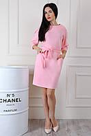 Обалденное платье розового цвета с стразами на рукавах