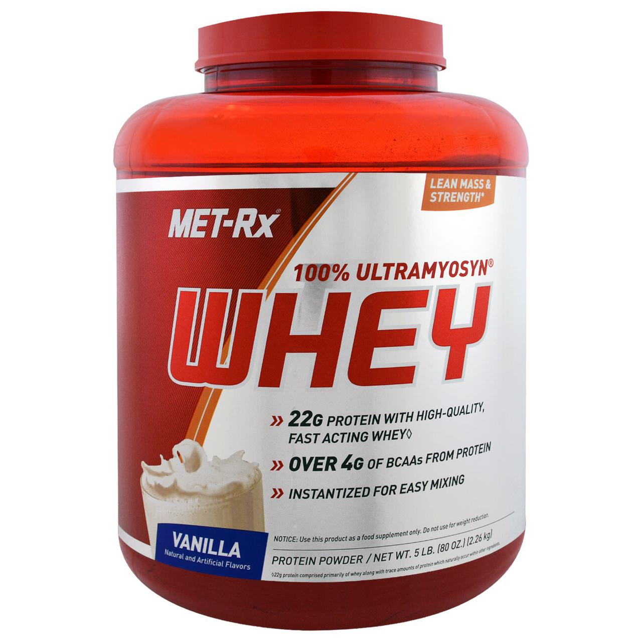 MET-Rx, Сыворотка со 100% Ultramyosyn, ваниль, 80 унций (2,26 кг)