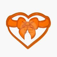 """3D форми для пряників - Вирубка """"Серце з бантиком"""" 12 см"""