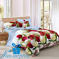 Двуспальное постельное белье из сатина ТЮЛЬПАНЫ (180*220)