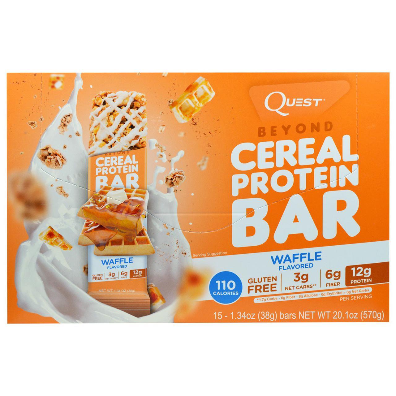 Quest Nutrition, Протеиновый батончик с вафлей Beyond Cereal, 15 батончиков, 1,34 унции (38 г) каждый