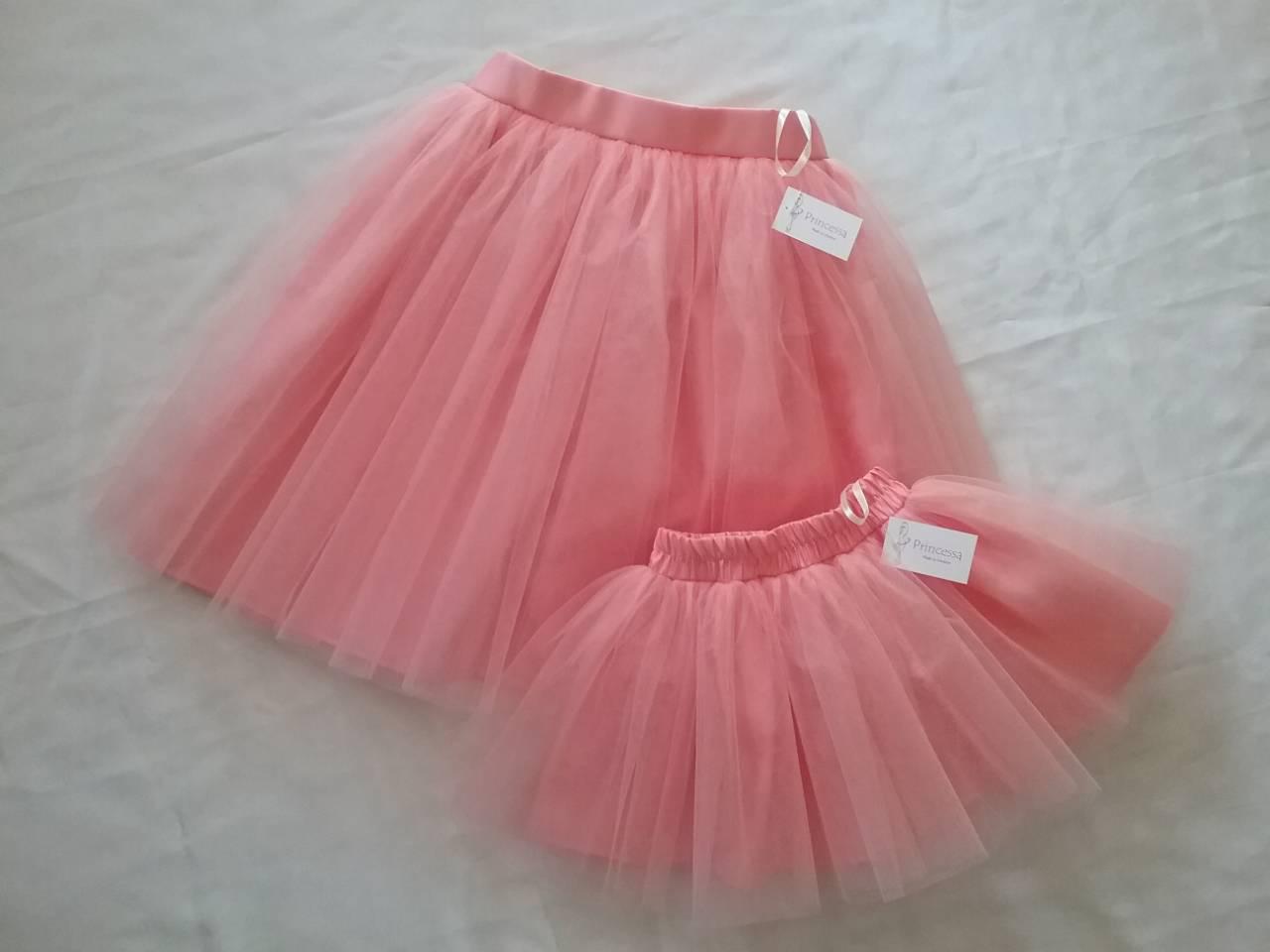 Комплект фатиновых юбок женская и детская, с подкладом. Цвет персик. Пошив в любом цвете и размере.
