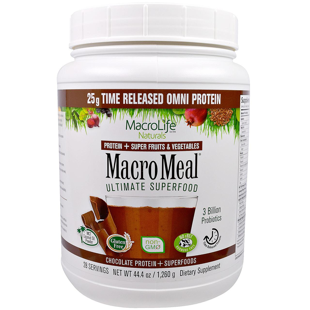 Macrolife Naturals, MacroMeal, Шоколадный протеин + супер питание, 44.4 унции(1,260 г)