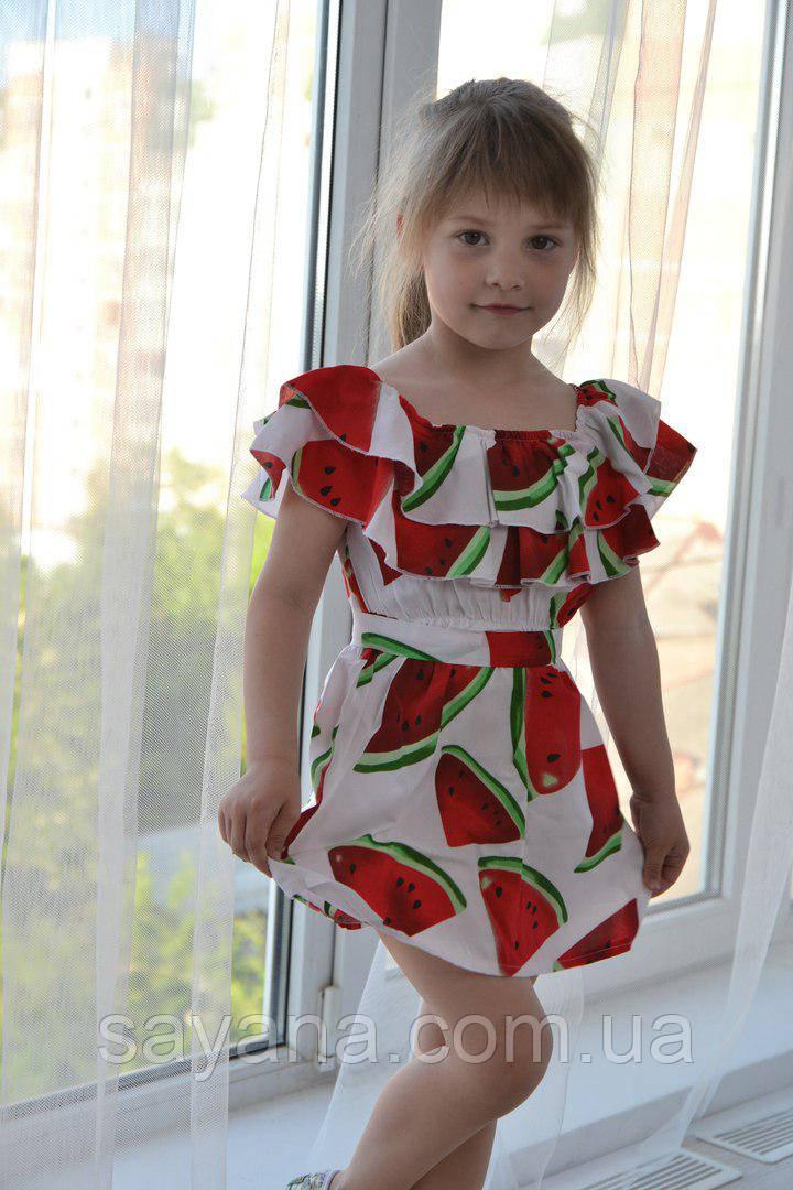 Детское платье с воланами в расцветка. МО-3-0418