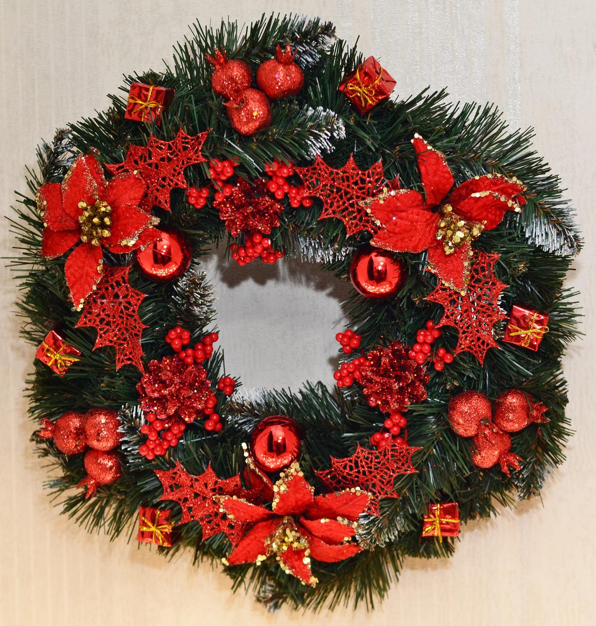 Венок новогодний большой  украшенный  0423R
