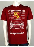 "Качественная мужская футболка ""PORSCHE Cayenne"": красная, темно-синяя, черная"
