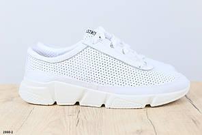 Мужские кроссовки, белые, из натуральной кожи с перфорацией