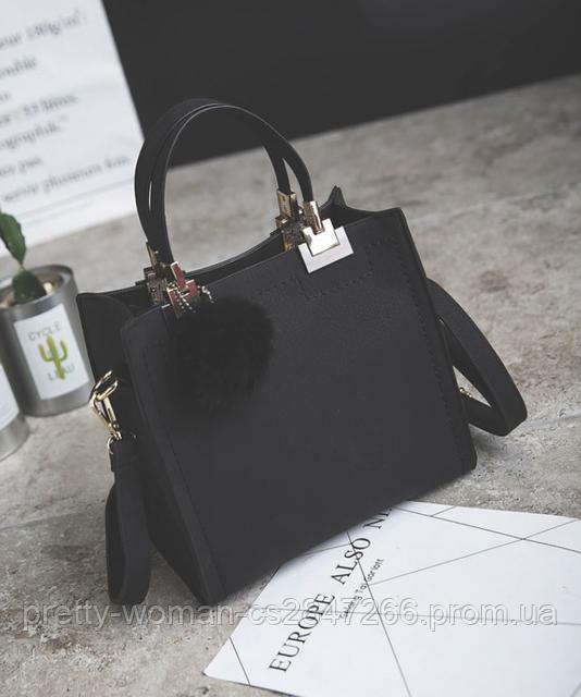 e0404e294f45 Сумка женская черная с меховым брелком, цена 525 грн., купить в ...