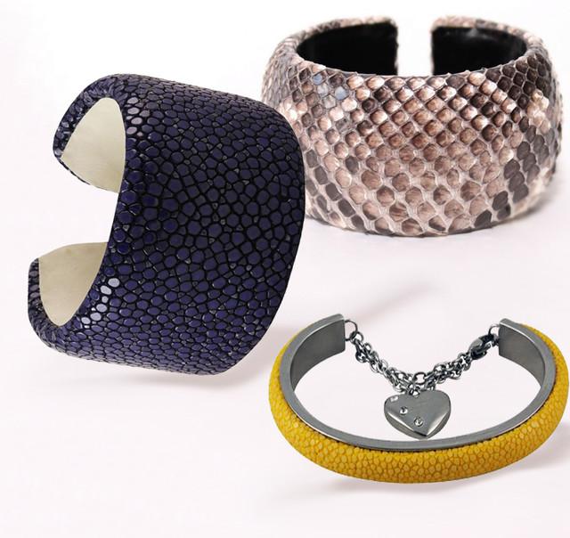 кожаные браслеты из шкур экзотических дивотных