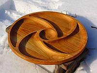 Тарелка из натурального дерева. Менажница. 40 см