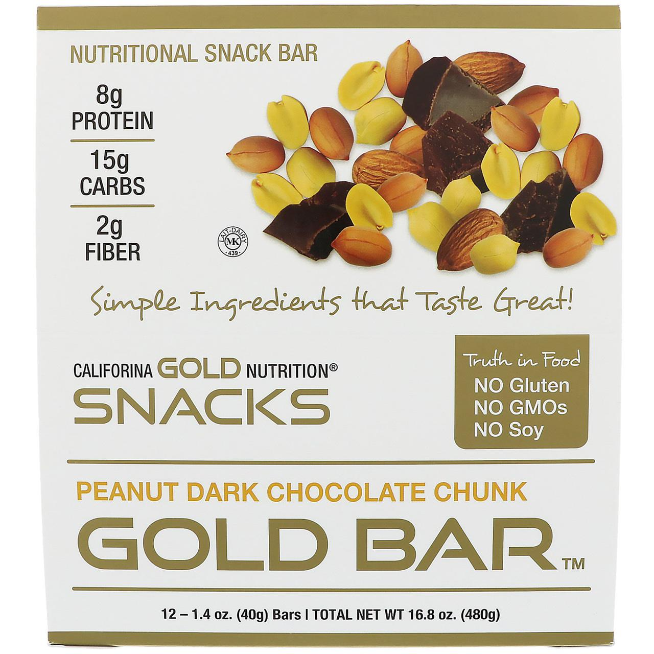 California Gold Nutrition, Gold Bar, Арахис и кусочки темного шоколада, 12 батончиков, 1,4 унц. (40 г) каждый