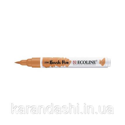 Ручка-кисточка Ecoline Brushpen (236), Оранжевая светлая, Royal Talens, фото 2