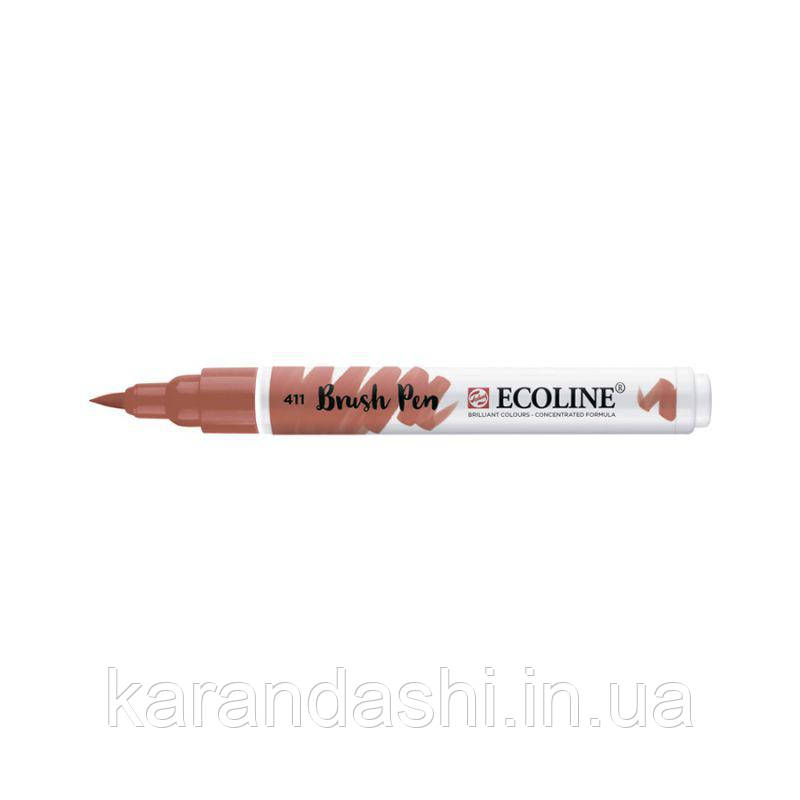 Ручка-кисточка Ecoline Brushpen (411), Сиена жженая, Royal Talens