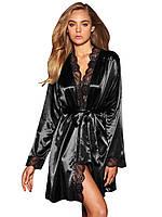 Черный сатиновый халат с кружевом, фото 1