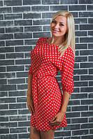 Красивое платье в горошек красное
