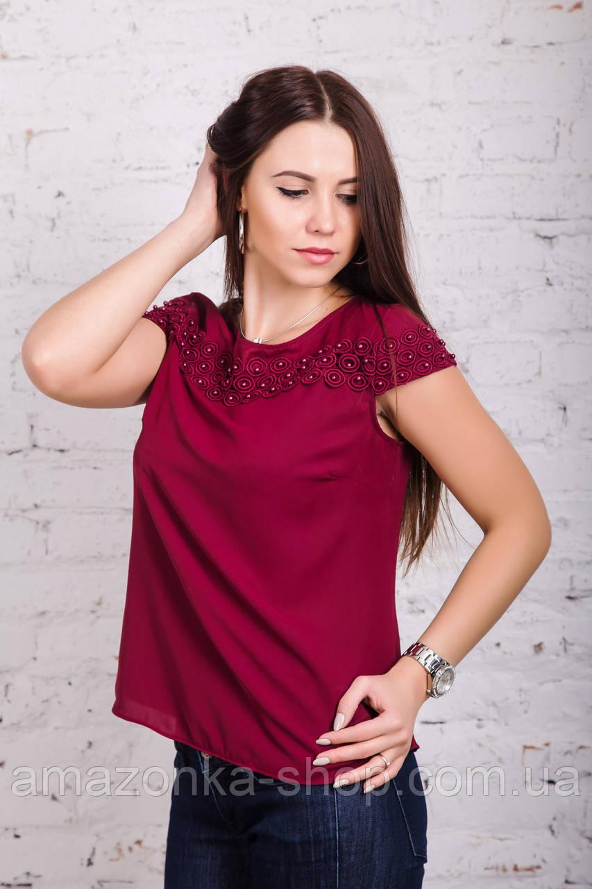 Нарядная женская блузка весна-лето 2018 - Кокетка - (код бл-184)