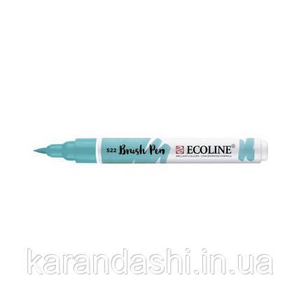 Ручка-кисточка Ecoline Brushpen (522), Бирюзовая синяя ,Royal Talens, фото 2
