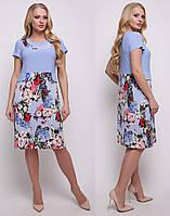 Платье больших размеров легкое повседневное женское летнее трикотаж масло