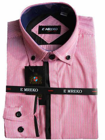 Рубашка для мальчика пурпурно-розовая комбинированная с длинный рукав Emreko, фото 2