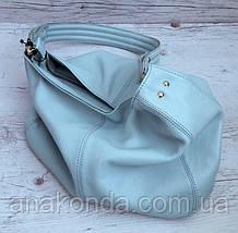 212 Натуральная кожа, Объемная сумка женская Сумка через плечо Кожаная сумка женская Кожаная сумка голубая, фото 2