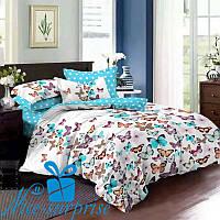 Комплект постельного белья с 2 пододеяльниками из сатина БАБОЧКИ