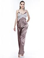Женская пижама с ажуром сатин-шелк