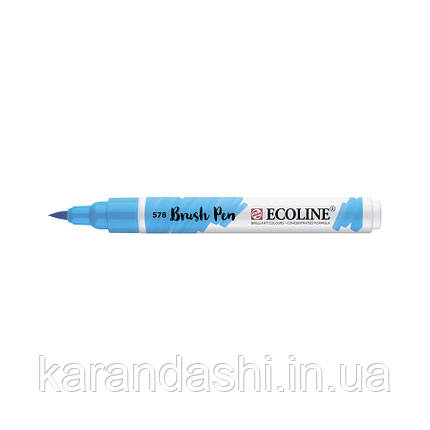 Ручка-кисточка Ecoline Brushpen (578), Небесно-голубая, Royal Talens, фото 2