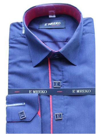 Рубашка для мальчика темно-синяя комбинированная длинный рукав Emreko, фото 2