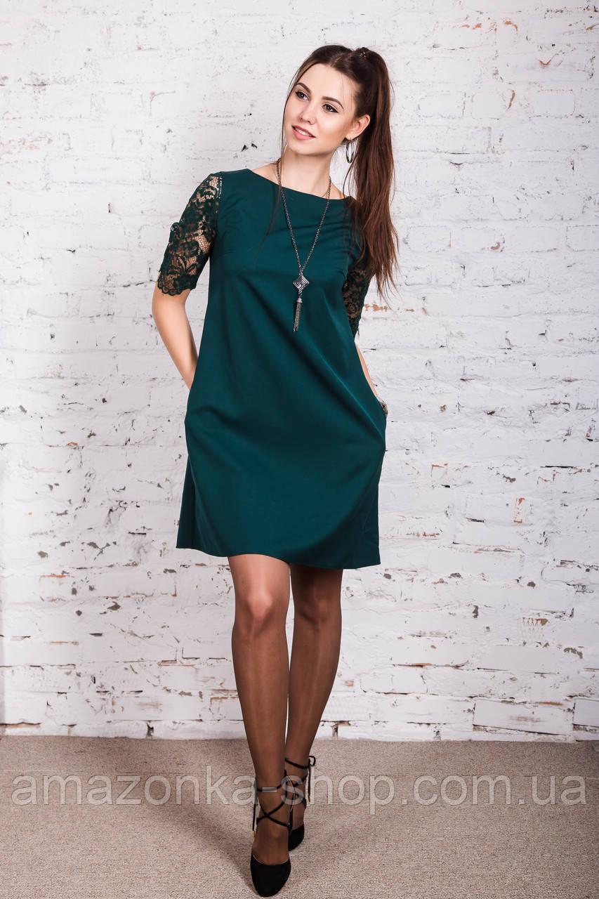 Женское летнее платье с ажурными рукавами 2018 - Код пл-231 (зеленый)