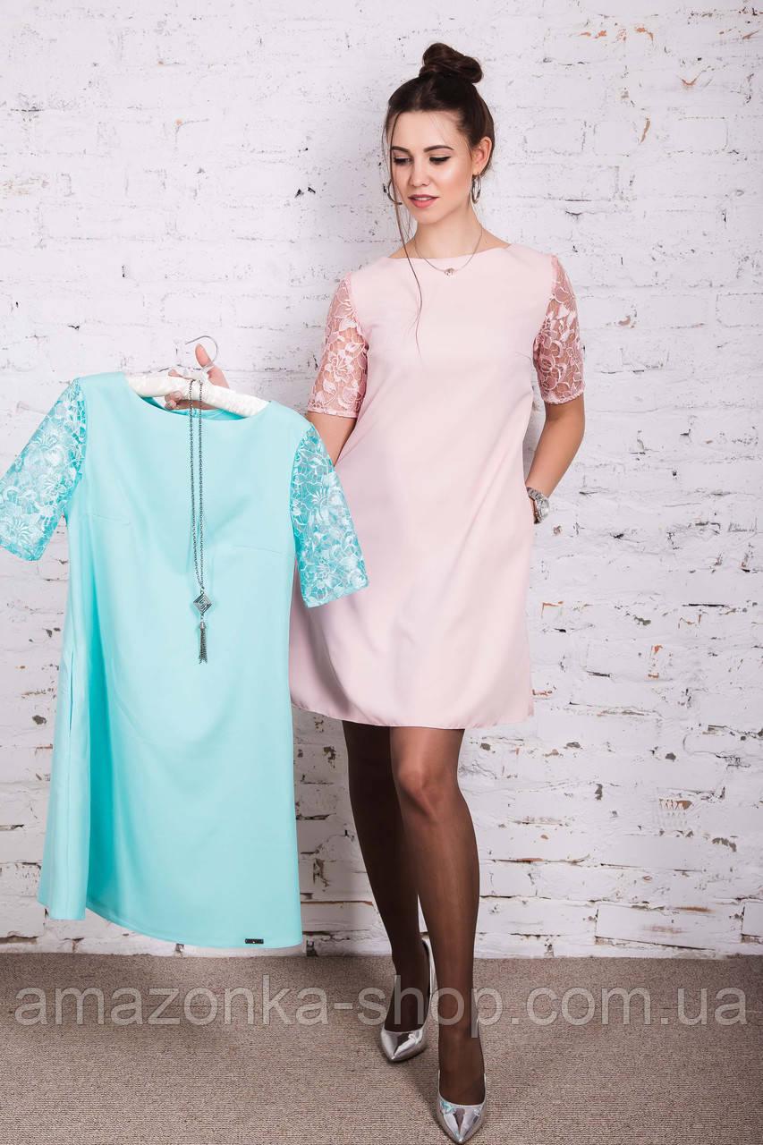 Женское летнее платье с ажурными рукавчиками 2018 - Код пл-231