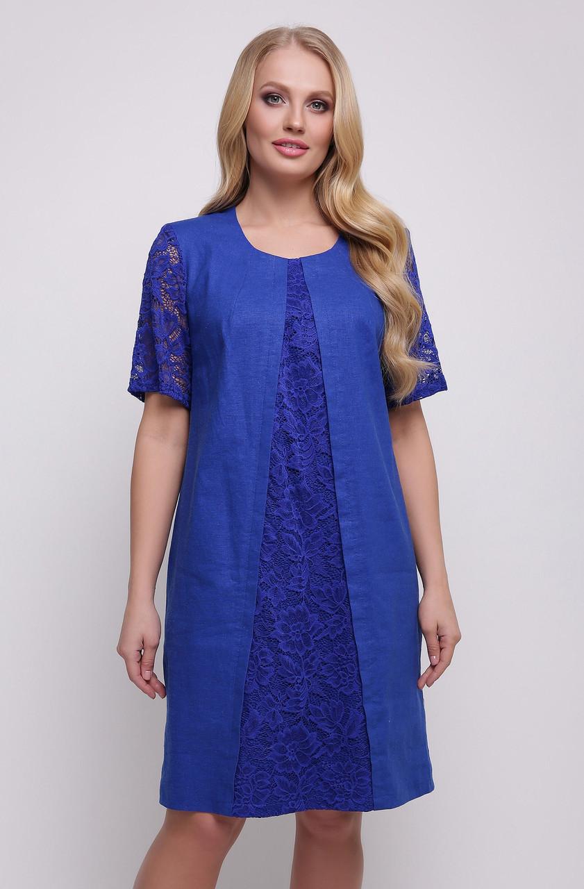 07be51a6393 Льняное платье больших размеров А силуэтное женское летнее лен с гипюром -  Интернет магазин Sport-