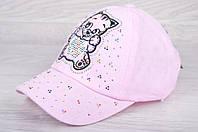 """Кепка детская """"Котик"""". Размер 50-52 см. Розовая. Оптом и в розницу."""