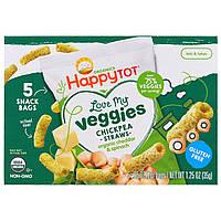 Nurture Inc. (Happy Baby), Organics Happy Tot, Мои любимые овощи, пакетик хрустящих палочек из нута, органический чеддер и шпинат, 5 пакетиков, 0,25