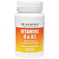 Dr. Mercola, Витамины D и K2, 30 капсул