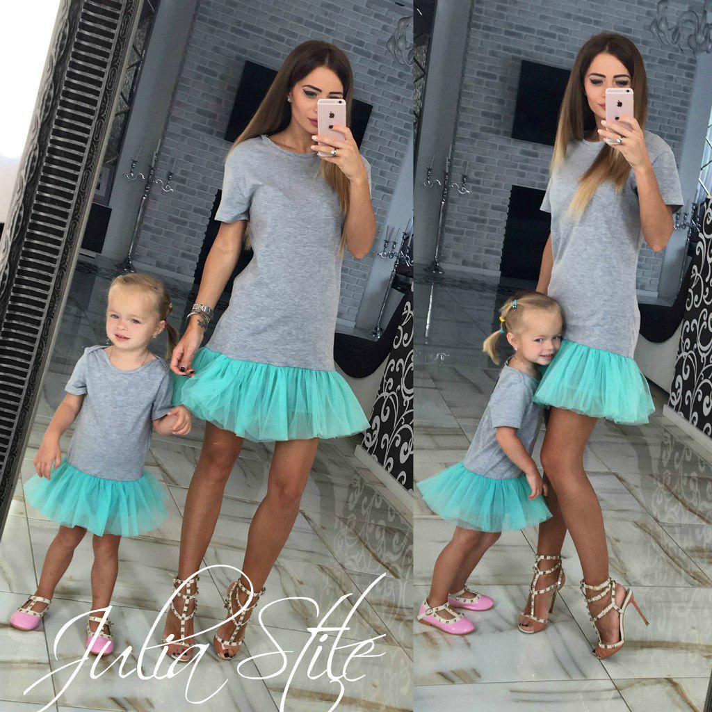 Одинаковые платья трикотаж + фатин мама и дочка