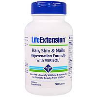 Life Extension, Волосы, кожа и ногти, омолаживающая формула с верисолом, 90 таблеток