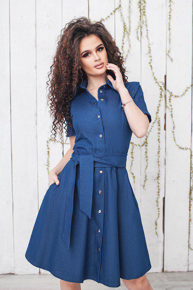 """Джинсовое платье-рубашка на кнопках """"NAJA"""" с карманами и коротким рукавом"""