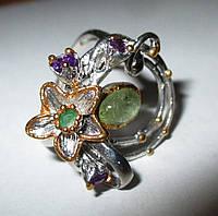 """Серебряный перстень """"Эдельвейс """" с  турмалином и  аметистами  , размер 17,7, фото 1"""
