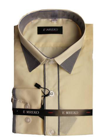 Рубашка для мальчика приталенная топленое молоко с серой отделкой длинный рукав Emreko, фото 2