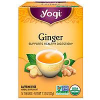 Yogi Tea, Чай с органическим имбирем, без кофеина, 16 чайных пакетиков, 1.12 унций (32 г)