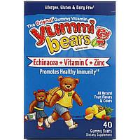 Hero Nutritional Products, Вкусные мишки, эхинацея + витамин C + цинк, натуральный фруктовый вкус, 40 жевательных медвежат