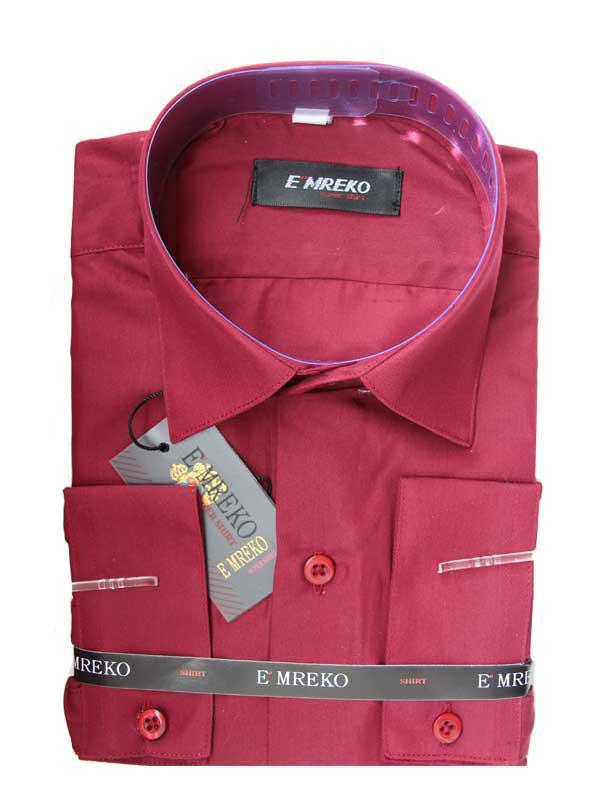 Школьная рубашка для мальчика с длинным рукавом  Emreko бордовая