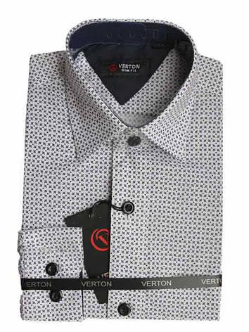 Рубашка для мальчика приталенная белая с серым принтом длинный рукав Verton, фото 2