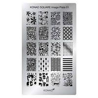 Мини пластина для стемпинга Konad Square Image Plate 01