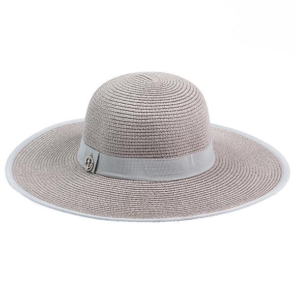 Женская летняя шляпка из рисовой соломки  цвет серый