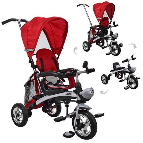 Велосипед M 3212A-5 (1шт) три кол.резина,трансформер(беговел),поворот,быстросъем.колеса,красный