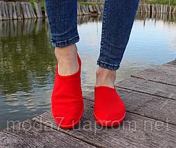Женские - подростковые мокасины - чешки, кеды красные летние, фото 3